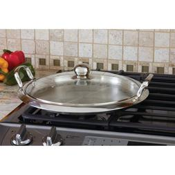 "16"" STAINLESS STEEL GRIDDLE PAN DINING SMALL KITCHEN APPLIAN"