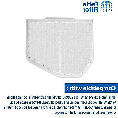 Fette Filter Pack Dryer Lint Screen   with Whirlpool W10...