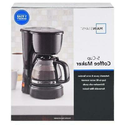5 Cup Coffee Maker Brew Electric Brewer Black