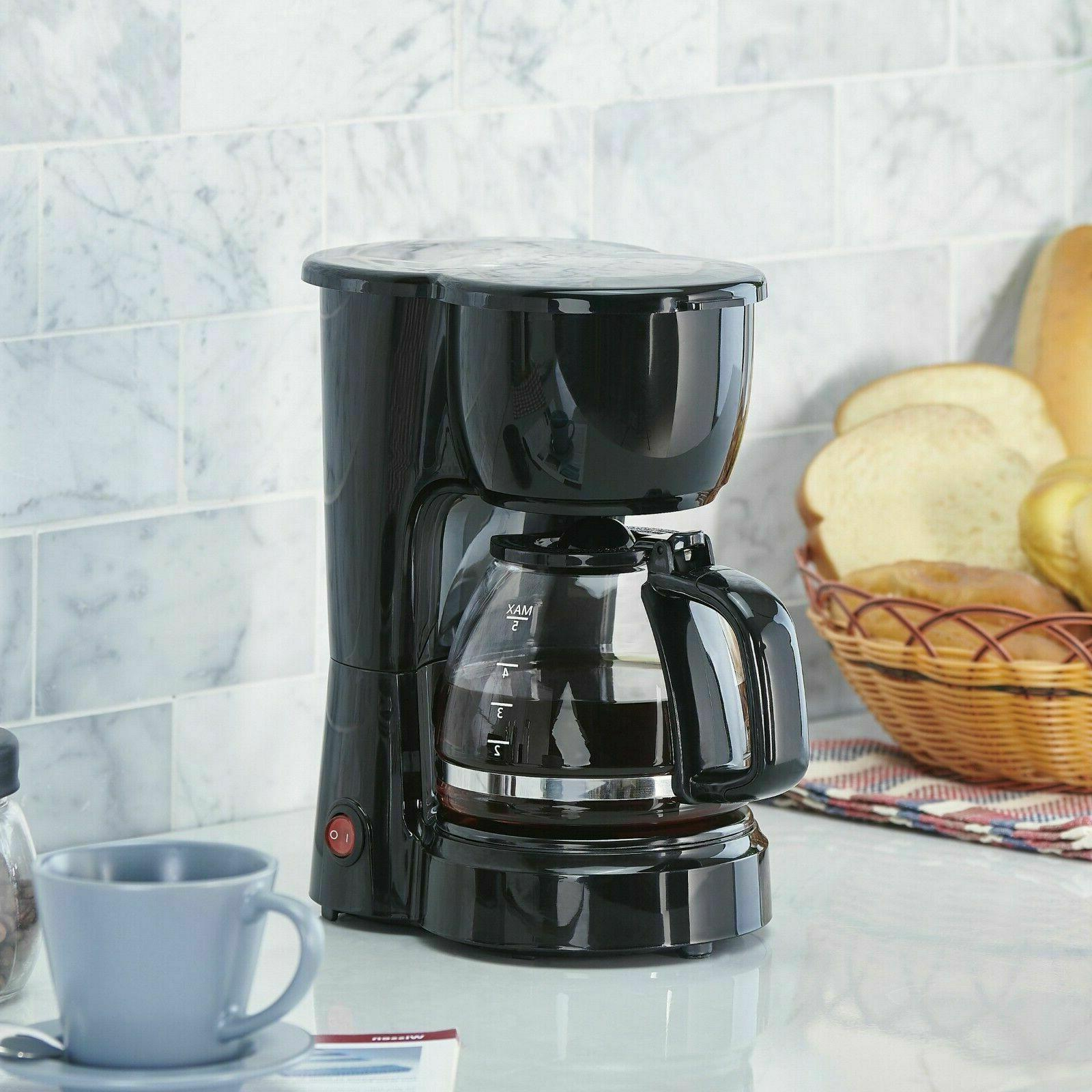 5 Cup Coffee Brew Pot Kitchen Appliance Electric Filter Home Black