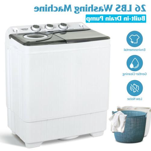 Mini Washing Machine Compact Twin Tub Laundry Spinner Dryer