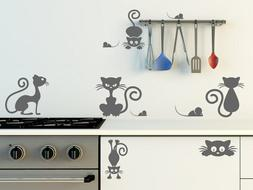 Set Of Cats And Mouses Adorable Wall Sticker High Quality De